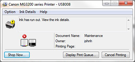 canon printer error codes - ink is low or empty